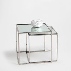 GLASS NEST OF TABLES (SET OF 2)