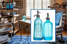 When the sun hits, these flea-market seltzer bottles bring an extra element of sparkle to this vintage-style office