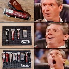 "Wahl Professional USA on Instagram: ""Vince's reaction says it all 😂 . A little hair humor to get you to the weekend. #wahl #wahlpro #vincemcmahon #barber #barbers #clippers…"" Vince Mcmahon, Hair Humor, Barbers, Baseball Cards, Usa, Instagram, Barber Shop, Hairdressers"
