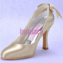 Mature Concise Classic High Heel Fashion Shoes Bowtie Champagne Satin Evening Dress Party Shoes(China (Mainland))