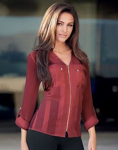 Womens burgundy love michelle keegan satin stripe zip blouse from Lipsy - £40 at ClothingByColour.com