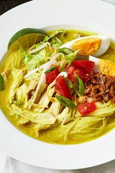 This hearty Soto Ayam, an Indonesian soup, served at Diana and Maylia Widjojo's restaurant Hardena in Philadelphia, is the perfect one-bowl meal.#soup #souprecipse #dinner #dinnerideas Best Soup Recipes, Wine Recipes, Soto Ayam Recipe, Asian Grocery, Fried Shallots, Rice Vermicelli, Fresh Ginger, Soups And Stews, Soul Food