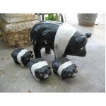 cement pig statues - my great uncle had these out in his yard and told us kids we could take them home if we could pick them up. my older siblings always tried picking up the big pig, i grabbed one of the little piglets. never did take him home thought.