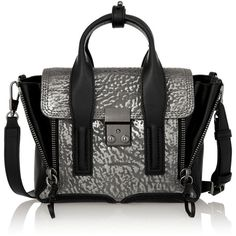 3.1 Phillip Lim The Pashli mini textured-leather trapeze bag, Women's,... (855 AUD) ❤ liked on Polyvore featuring bags, handbags, color block handbags, colorblock handbags, 3.1 phillip lim handbags, color block purse and mini bag