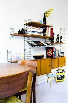 Retro home in Oslo. Love the shelves!