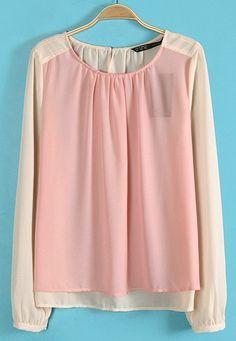 Pink Long Sleeve Back Button Chiffon Blouse
