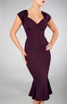 Stop Staring! 40s Glamour Lula Dress in Eggplant or Red