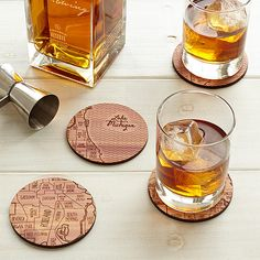 Celebrate your favorite locale with these cedar coasters, hand engraved with an urban grid.