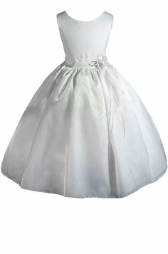 Flower Girl, just replace with a green sash :)   Amazon.com: AMJ Dresses Inc Girls White Flower Girl Communion Dress Sizes 2 to 12: Clothing