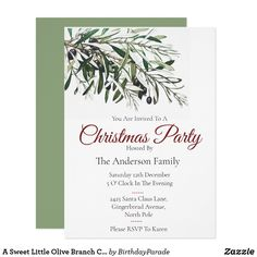 A Sweet Little Olive Branch Christmas Party Invitation Christmas Party Invitations, Rudolph The Red, Red Nosed Reindeer, Party Hats, Happy Holidays, Christmas Stockings, Gingerbread, Christmas Decorations, Santa