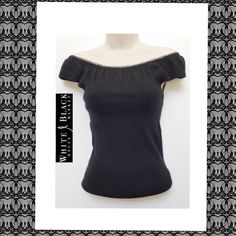 WHBM Sleeveless Silk Blend Ruched Off Shoulder Top Not your average sleeveless top ~ White House Black Market Super Soft Black Silk  blend top pretty ruching detail along collar~ so pretty worn off shoulders ~ can be worn on shoulders as well ~ Size S ~ Body Fabric Content ~ 69% Silk 22% Nylon 9% Rabbit Hair -Upper Fabric Content ~ 89% Silk 11% Rabbit Hair ~ Gently Pre-Owned ~EXC ~  trades/holds ~ 20% off bundles  Thanks for viewing White House Black Market Tops
