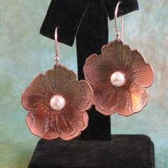 Copper Flower Earrings by SamanthaCreations on Etsy, $35.00