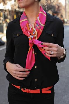 hermes + all black. I can't afford Hermes but I can scout out an affordable version of this scarf.