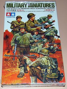 Vintage Tamiya Military Miniatures Plastic Model Kit - 135 Scale US Infantry, West European Theater, Made In Philippines.