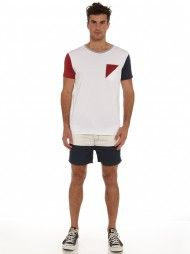 Provence Color Block Short in Navy and White
