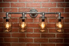 4 Mason Jar Light - Pipe Light - Vanity Light - Edison Light - Rustic Light - Industrial Light - Wall Light - Wall Sconce - Steampunk Light by TMGDZN on Etsy