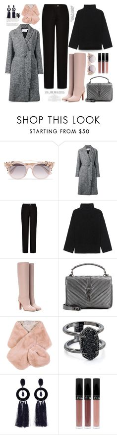 """Classic Gray Wrap-Waist Coat..."" by unamiradaatuarmario ❤ liked on Polyvore featuring Jimmy Choo, Alexander Wang, Acne Studios, Steffen Schraut, Valentino, Yves Saint Laurent, Chesca, Kendra Scott and Oscar de la Renta"