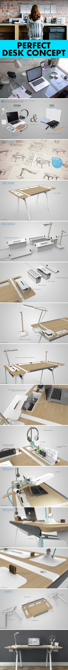 Very Cool Desk concept by Francois Dransart, via Behance *** #desk #behance #desk #design #deskdesign #working #table #unique #wood