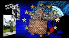 """""""Europa: Denn Sie wissen nicht, was sie tun.."""", Collage aus 5 Bildern von Su, urheberrechtlich geschützt - die Konfrontation mit den Massen an Flüchtlingen demaskiert unsere Gesellschaft"""