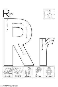 R Para Colorear Kindergarten Spelling Words, Preschool Math, Kindergarten Worksheets, Alphabet Templates, Alphabet Worksheets, Letra Script, 3 Year Old Activities, Spanish Lessons For Kids, Grammar Exercises