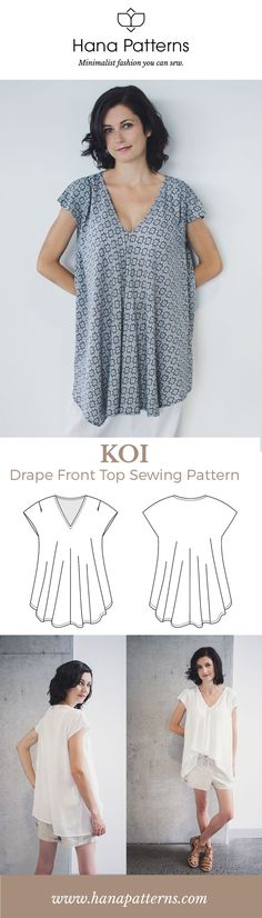 Modern Sewing Patterns for Women | The KOI drape front top is a versatile piece for your capsule wardrobe. Make it in beautiful drapey fabrics like crepe de chine and rayon. Find out more at www.hanapatterns.com Japanese Sewing Patterns, Women's Sewing Patterns, Maternity Sewing Patterns, Knitting Patterns, Modern Patterns, Free Printable Sewing Patterns, Patterns For Dresses, Sewing Dresses For Women, Shirt Patterns For Women