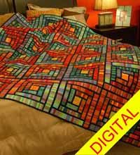Stained Glass Cabins Digital Quilt Pattern from QuiltandSewShop.com