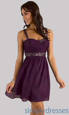 Short Sleeveless Purple Party Dress at SimplyDresses.com Simple but still super pretty!