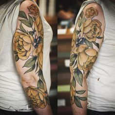 Yellow roses sleeve tattoo by Alice Carrier in Portland, Oregon.