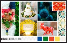 Lizzy B Loves visual + sparkle = inspiration : Talavera tile Hues perfect for a Fall Wedding #wedding_inspiration #wedding_color_palette #color_palette_inspiration