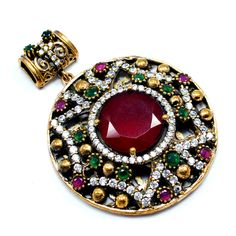 Silvesto India Ruby,Emerald And White Topaz (Lab) 925 Sterling Silver With Bronze Turkish Pendant Jewelry PG-7185  https://www.amazon.com/dp/B01ETGN9XU