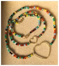 Colar e pulseira Confete Mix de pedras e corações em ouro 18k