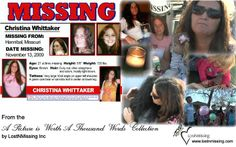 Created by LostNMissing. Christina's flier combined with pictures of her family at her candle light vigil on her 3rd missing anniversary. Please share her fliers/videos. She has been missing since 11/13/09 from Hannibal,Mo and was taken to Peoria,Il. Someone knows something. If you do please help us. We all love and miss Christina very much. her daughter, Alexandria, needs her mommy back. Thank you, Cindy Young.