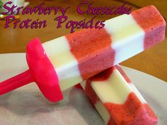 Strawberry Cheesecake Protein Popsicles. Seriously delicious and ever so healthy. Would be perfect for early stages of bariatric surgery as well as a delicious snack for those who haven't had surgery. My 9-year-old loves these! WLS Recipes. Eating Bariatric.