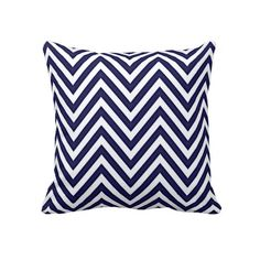 Trendy, decorative and pretty pillow. With beautiful dark blue and white chevron zigzag stripes. For the lover of modern design, or retro patterns. The fresh colors give this classic and chic pillow a nautical sailing theme. Cute girly girl's, kid's, mom's or dad's birthday present, Mother's or Father's day, or Christmas gift. Cool and fun pillow for the master or children's bedroom, nursery, living or family room, patio or deck, cabin, boat or yacht, beach house, cottage, or vacation home.