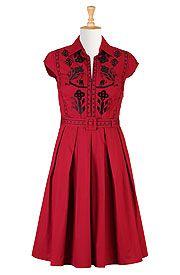 Folk embellished cotton poplin dress