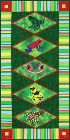 Harlequin Frogs free quilt pattern http://www.victorianaquiltdesigns.com/VictorianaQuilters/PatternPage/HarlequinFrogs/HarlequinFrogs.htm #quilting #frogs