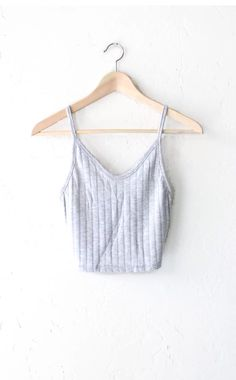 8bf55f7c69d366 Knit Ribbed V-neck Crop Top - Heather Grey