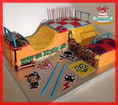 double halfpipe scooter cake like a skatepark with woodgrain ramp effect and graffiti detail Skatepark Halfpipe Scooter Cake