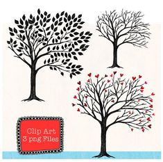 Instant Download, Tree Clip Art,  Digital File for card making, Clipart, digital scrapbooking, invitations and paper products, Trees, Sketch