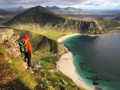 Mt Mannen overlooking Haukland beach in Lofoten. Hauklandstranda, Norway.