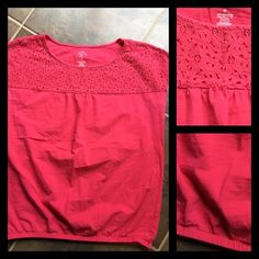 ST. JOHNS BAY TOP Coral shirt  lace on the top  elastic waist band  fits loose through the stomach  Cap sleeves  Great condition  no signs of wear  60% cotton, 40% modal St. John's Bay Tops Blouses