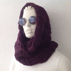 Purple Chunky Cowl Tube Scarf gift for her knitted by fairstore