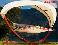 Details Zu Hängematte Mit Gestell Und Dach 405cm Sonnenliege Gartenliege  Gartenmöbel Holz
