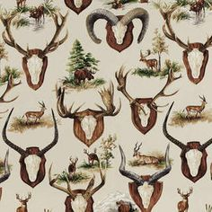 Pierre Frey Les Trophees Fabric in Creme Chalet Design, Chalet Style, Ski Chalet, Mountain House Decor, Pierre Frey Fabric, Trophy Rooms, Antique Paint, Fabric Wallpaper, Room Wallpaper
