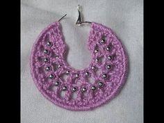 Brinco de croche com bolinhas passo à passo / Crochet earrings hoops with beads tutorial - YouTube