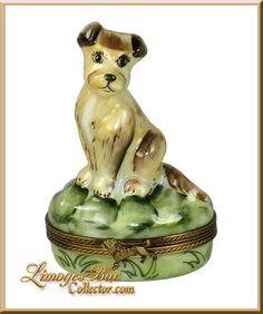 Wire Fox Terrier Dog Limoges Box (Retired).