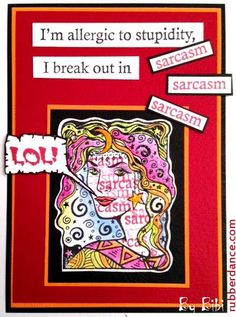 Rubber Dance Art Stamps blog hop with the Sisterhood of Snarky Stampers. Card with stamps from Rubber Dance.