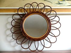 Vintage French sunburst bamboo mirror 50s 1950s