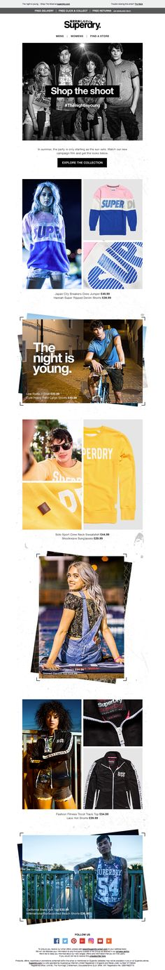 Superdry The Night Is Young Email / Newsletter Design