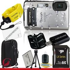 Olympus Tough TG-820 iHS Digital Camera (Silver) 8GB Package 1 by Olympus. $249.00. Package Contents:  1- Olympus Tough TG-820 iHS Digital Camera (Silver) w/ All Supplied Accessories 1- 8GB SDHC Class 10 Memory Card   1- USB Memory Card Reader  1- Rechargeable Lithium Ion Replacement Battery  1- Weather Resistant Carrying Case w/Strap  1- Pack of LCD Screen Protectors  1- Camera & Lens Cleaning Kit System  1- Mini Flexible Table Top Tripod 1- Memory Card Walle...